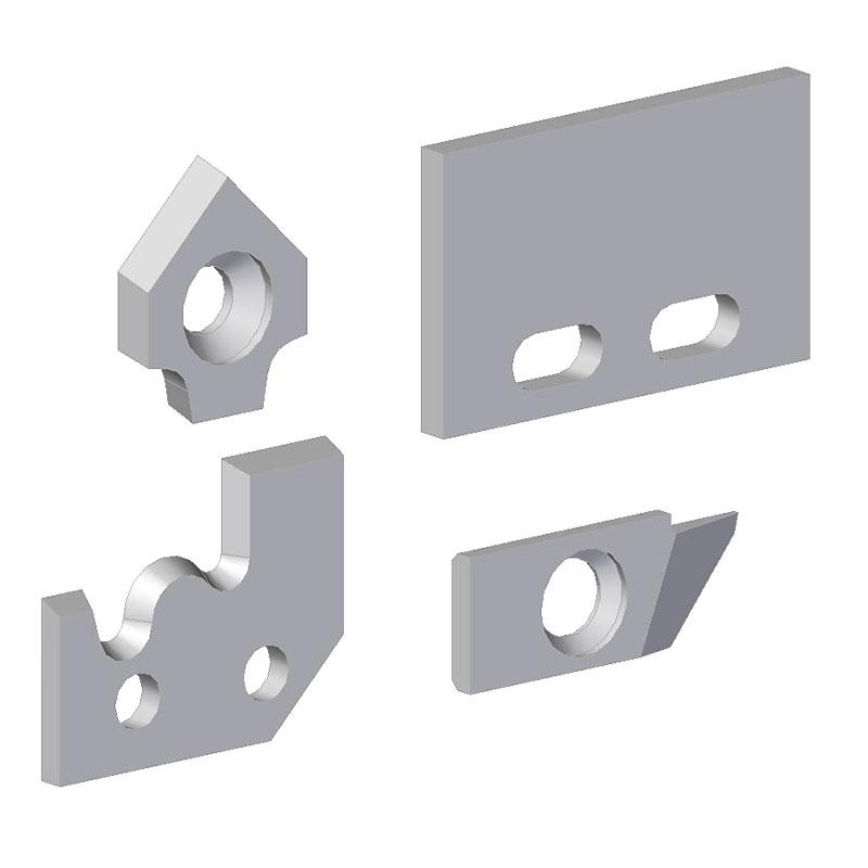 placa fijación mecánica, Con taladros y perfiles especiales.